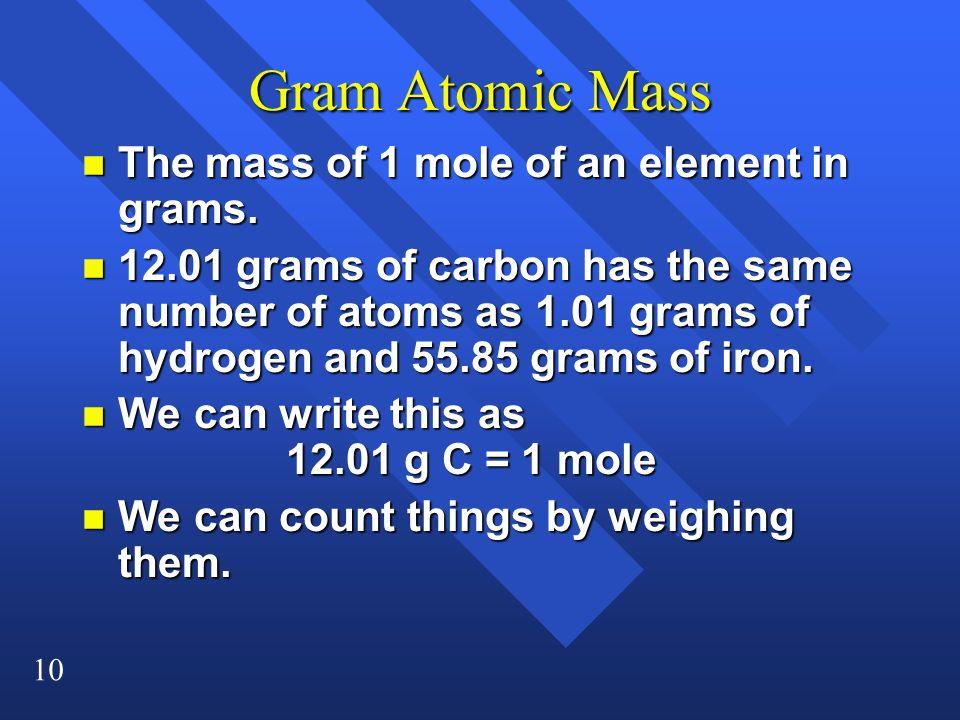 Gram Atomic Mass The mass of 1 mole of an element in grams.