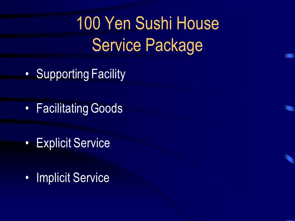 100 yen sushi house blueprint Executive summary this case shows us a service blueprint for the 100 yen sushi house operation, especially its service delivery system and the just-in-time.