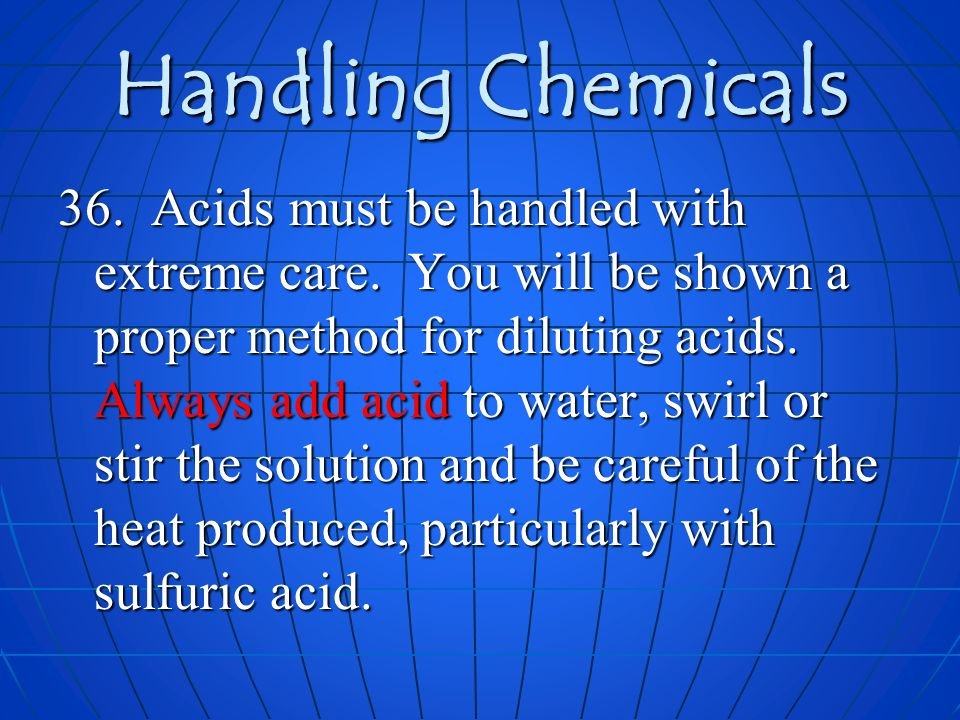 Handling Chemicals
