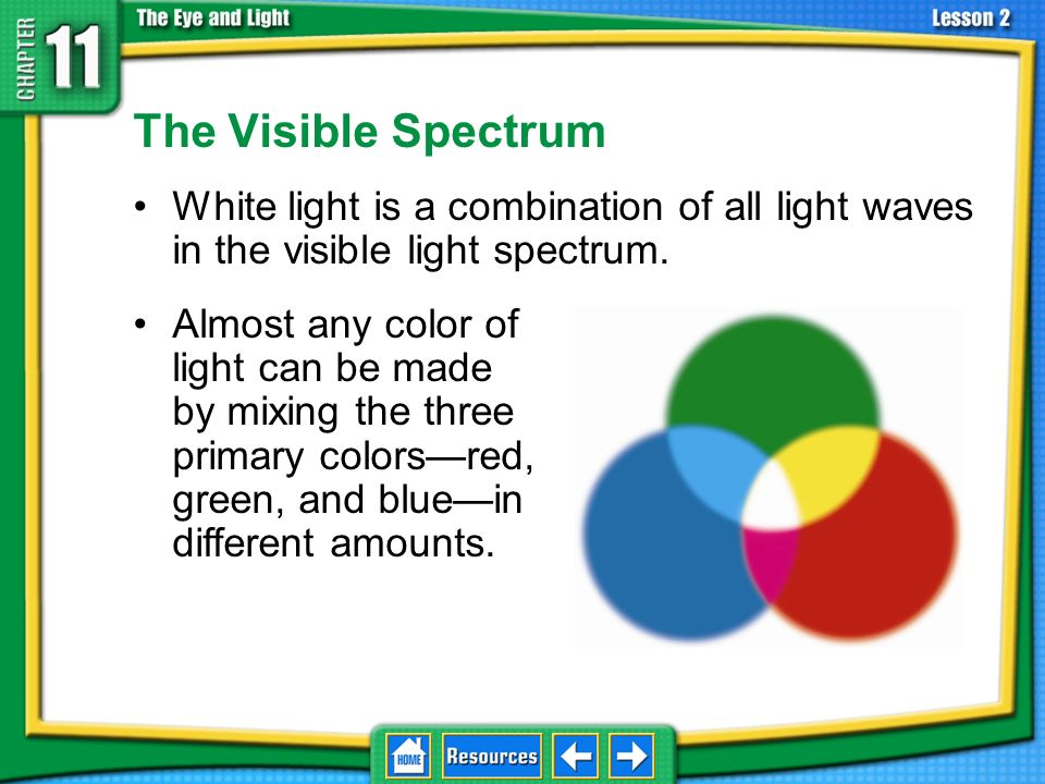 11.2 Light and Matter The Visible Spectrum. White light is a combination of all light waves in the visible light spectrum.