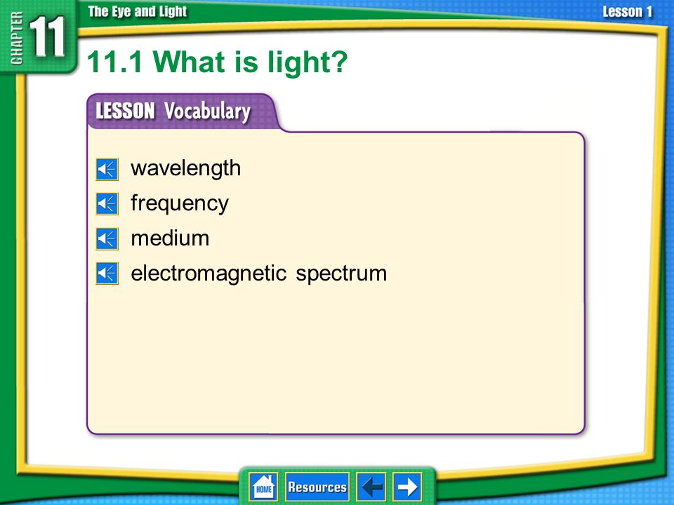 11.1 What is light wavelength frequency medium