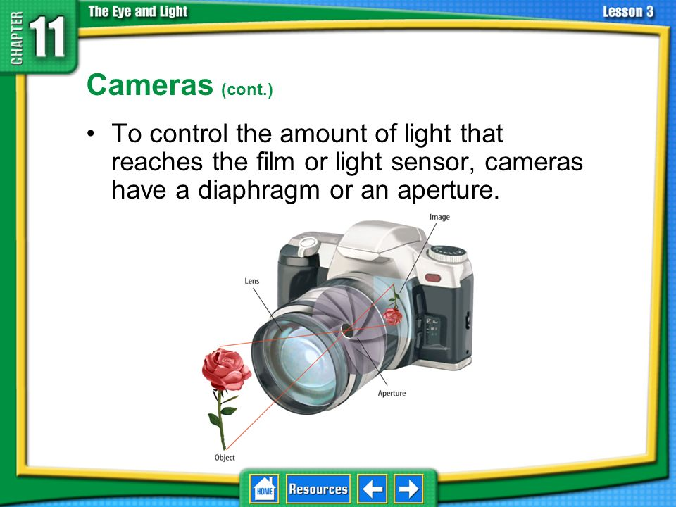 11.3 Using Lenses Cameras (cont.) To control the amount of light that reaches the film or light sensor, cameras have a diaphragm or an aperture.
