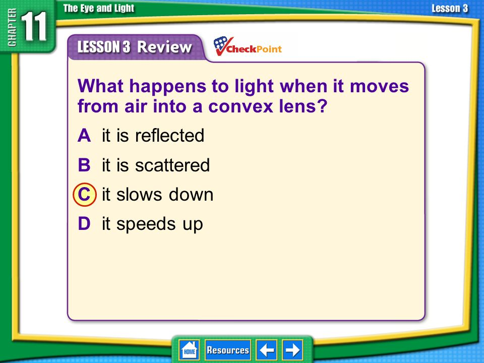 What happens to light when it moves from air into a convex lens