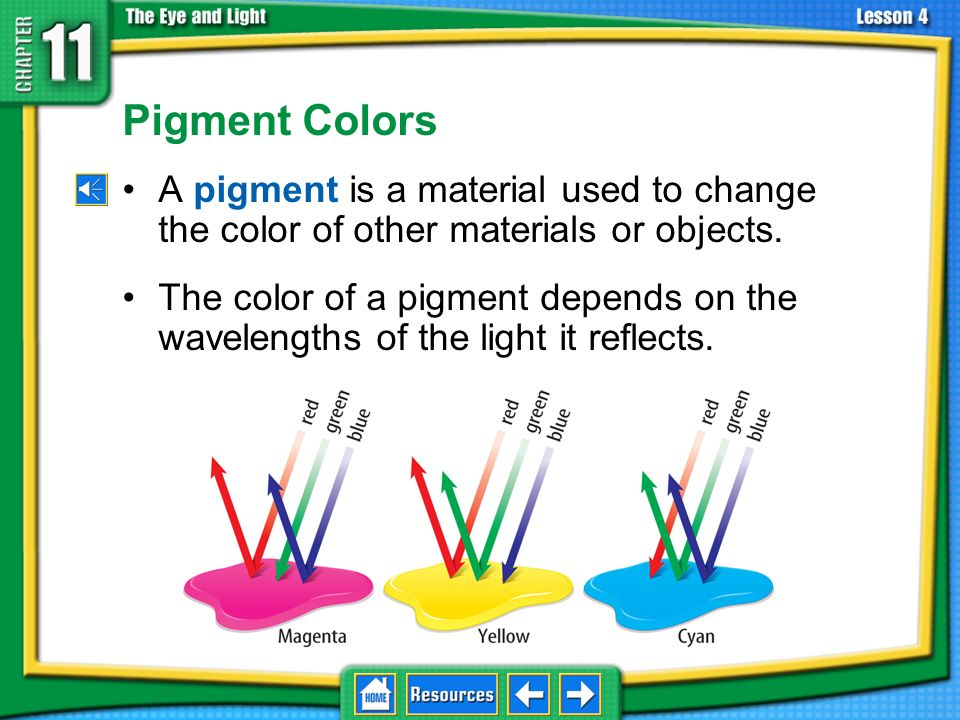 11.4 The Eye and Vision Pigment Colors. A pigment is a material used to change the color of other materials or objects.