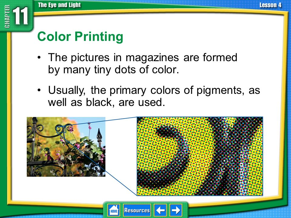 11.4 The Eye and Vision Color Printing. The pictures in magazines are formed by many tiny dots of color.