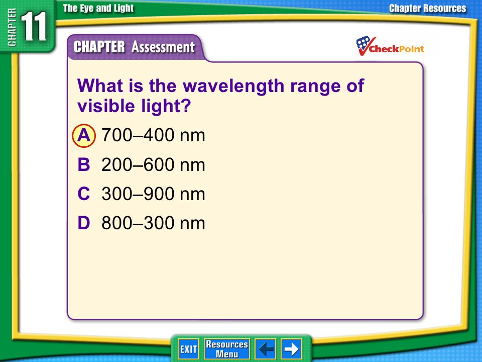 What is the wavelength range of visible light A 700–400 nm