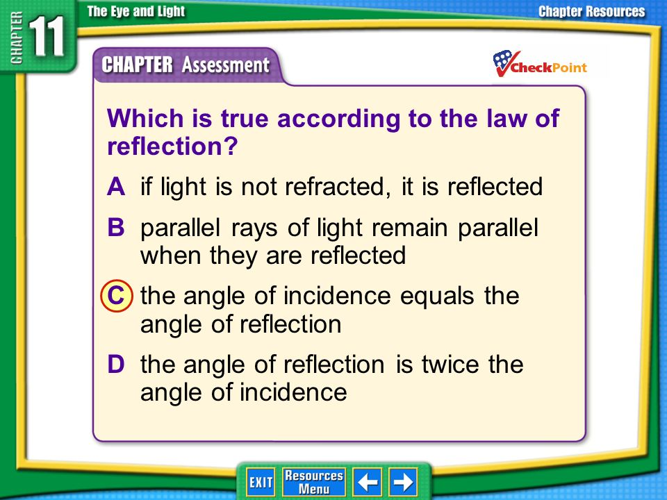 Which is true according to the law of reflection