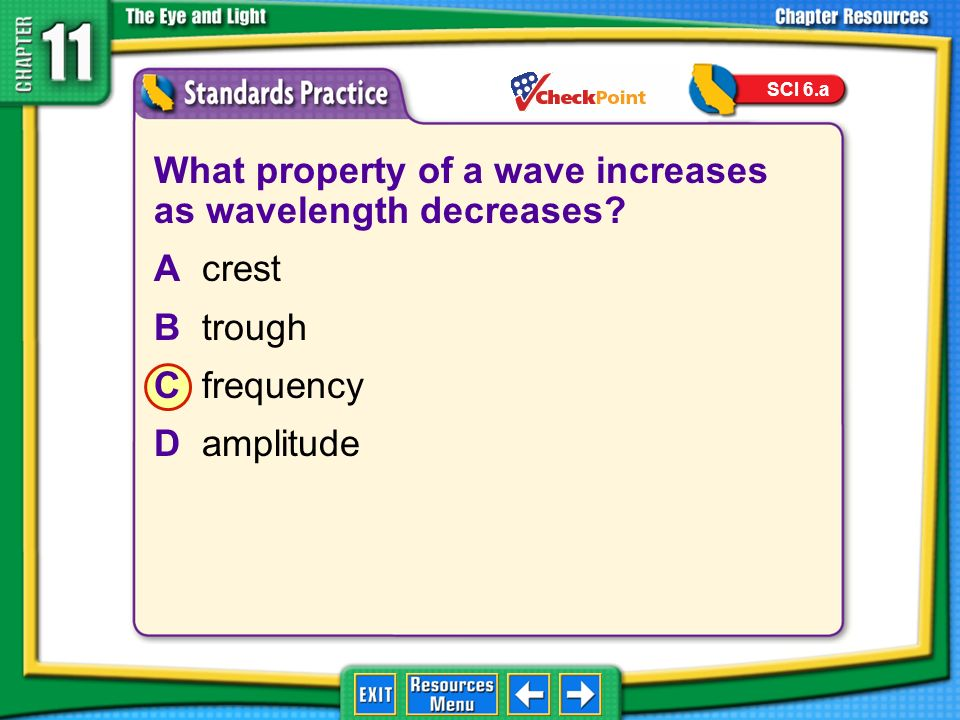 What property of a wave increases as wavelength decreases A crest