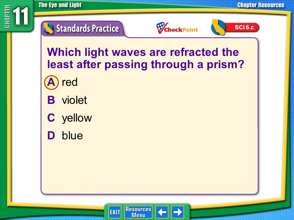 SCI 6.c Which light waves are refracted the least after passing through a prism A red. B violet.