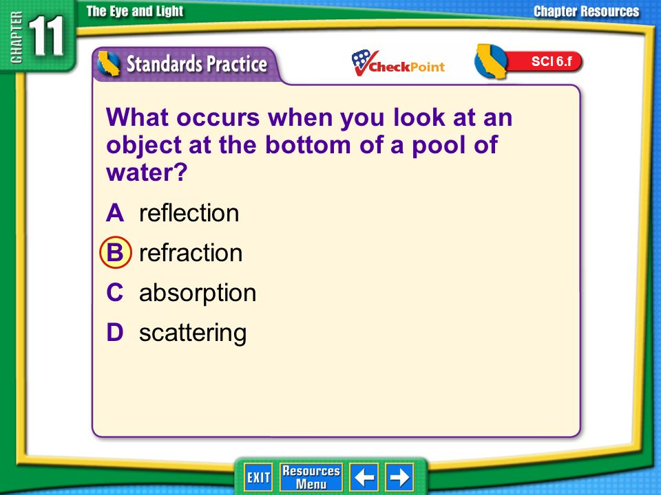 SCI 6.f What occurs when you look at an object at the bottom of a pool of water A reflection. B refraction.