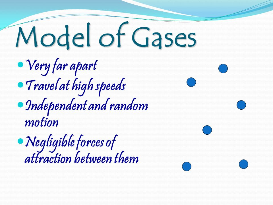 Model of Gases Very far apart Travel at high speeds