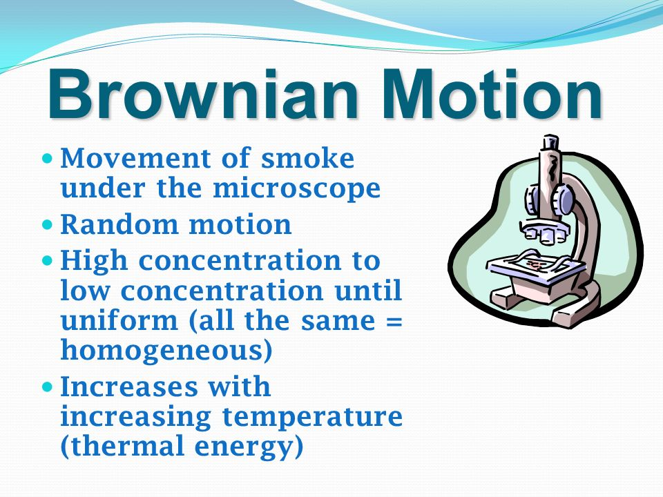 Brownian Motion Movement of smoke under the microscope Random motion