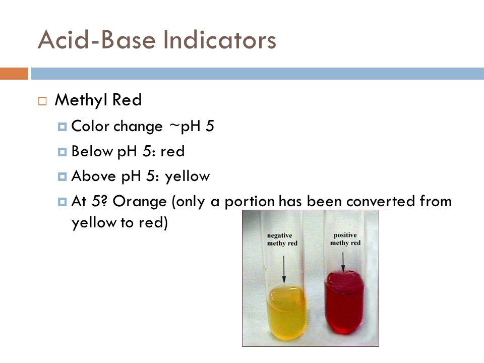 Acid-Base Indicators Methyl Red Color change ~pH 5 Below pH 5: red