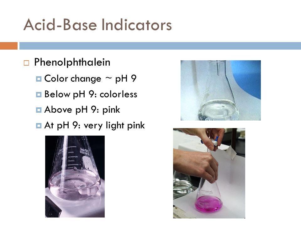 Acid-Base Indicators Phenolphthalein Color change ~ pH 9
