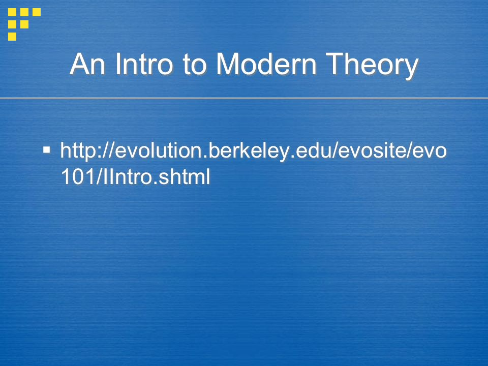 An Intro to Modern Theory