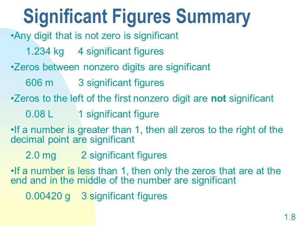 Significant Figures Summary