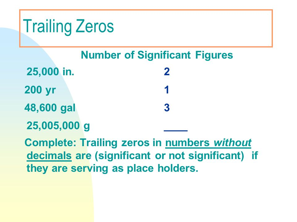 Trailing Zeros Number of Significant Figures 25,000 in. 2 200 yr 1