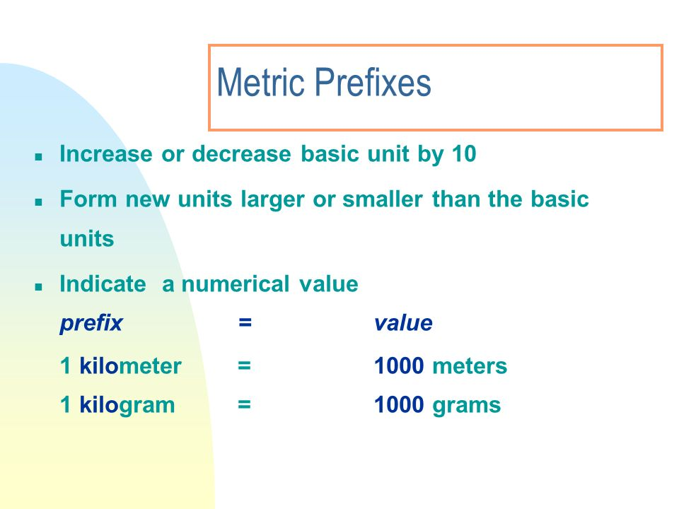 Metric Prefixes Increase or decrease basic unit by 10