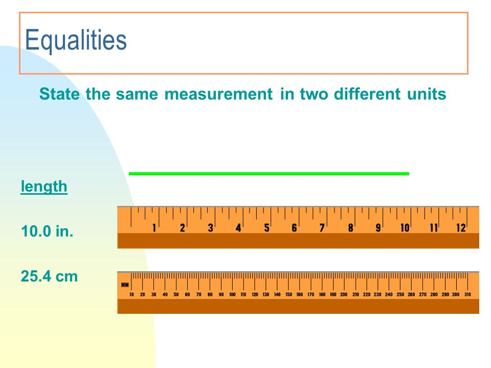 Equalities State the same measurement in two different units length