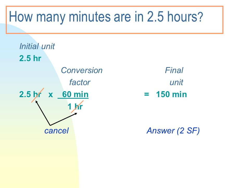 How many minutes are in 2.5 hours