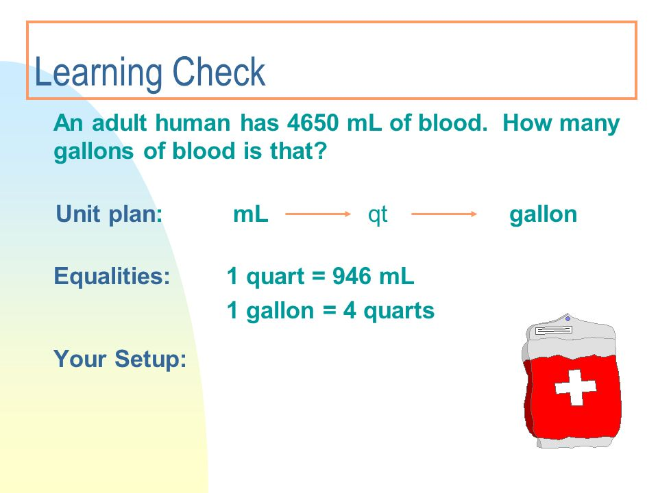 3/28/2017 Learning Check. An adult human has 4650 mL of blood. How many gallons of blood is that