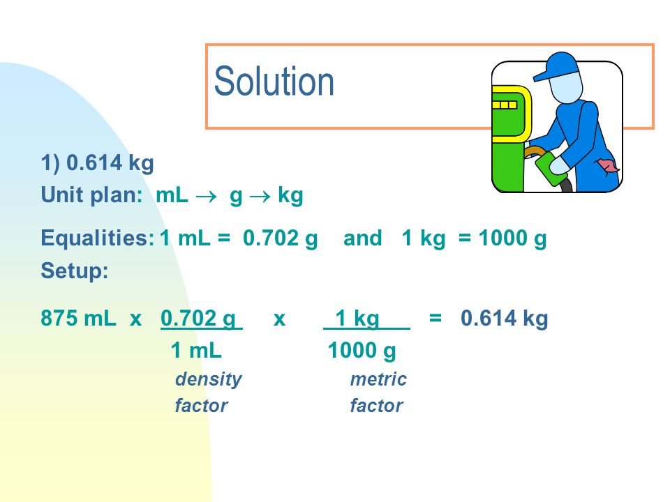 Solution 1) 0.614 kg Unit plan: mL  g  kg