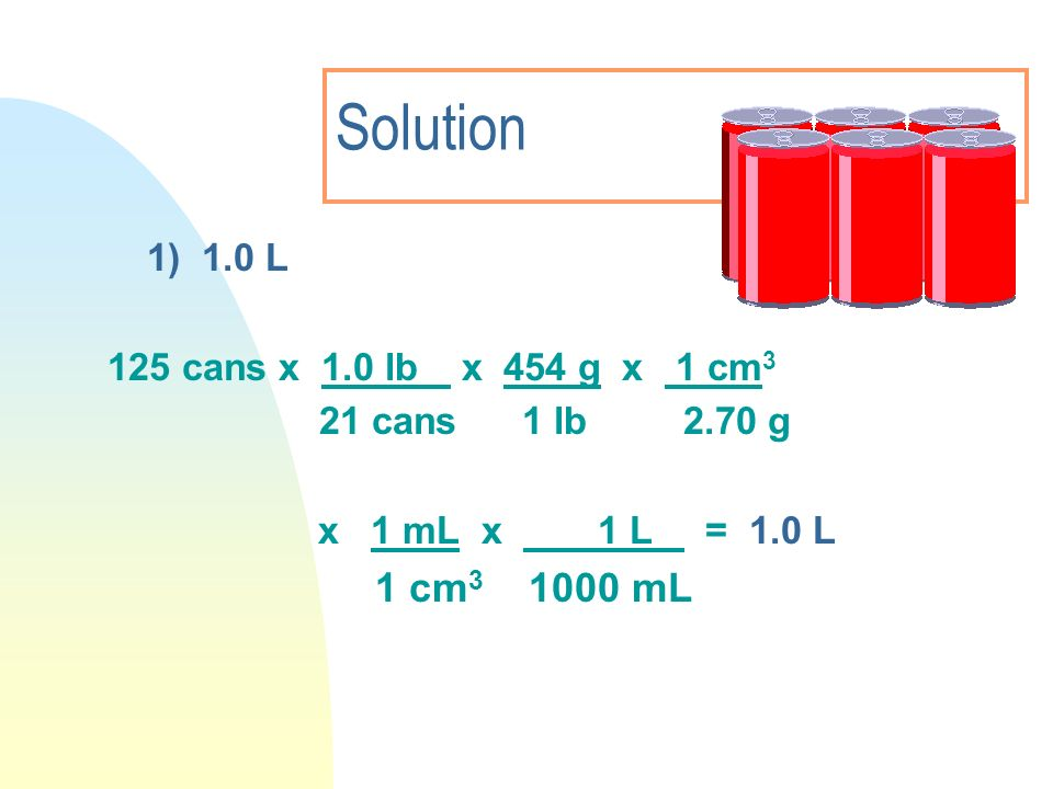 Solution 1 cm3 1000 mL 1) 1.0 L 125 cans x 1.0 lb x 454 g x 1 cm3