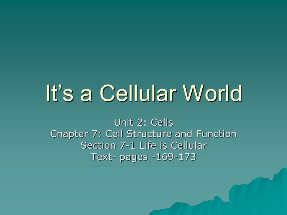 It's a Cellular World Unit 2: Cells