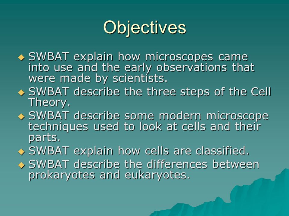 Objectives SWBAT explain how microscopes came into use and the early observations that were made by scientists.