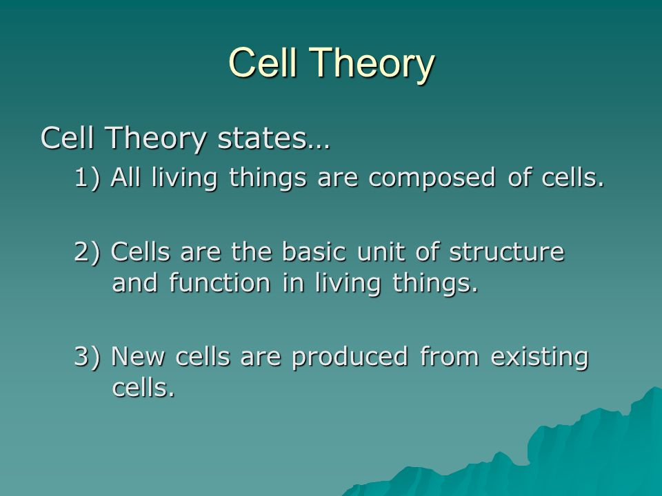 Cell Theory Cell Theory states…