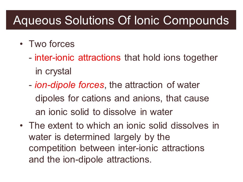 Aqueous Solutions Of Ionic Compounds