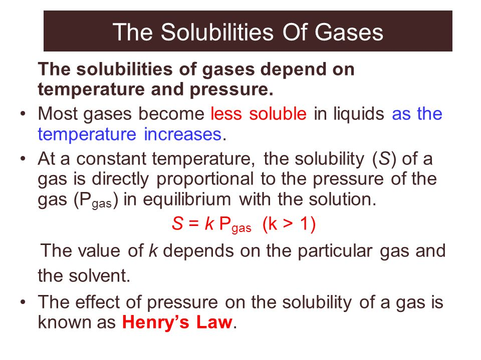 The Solubilities Of Gases