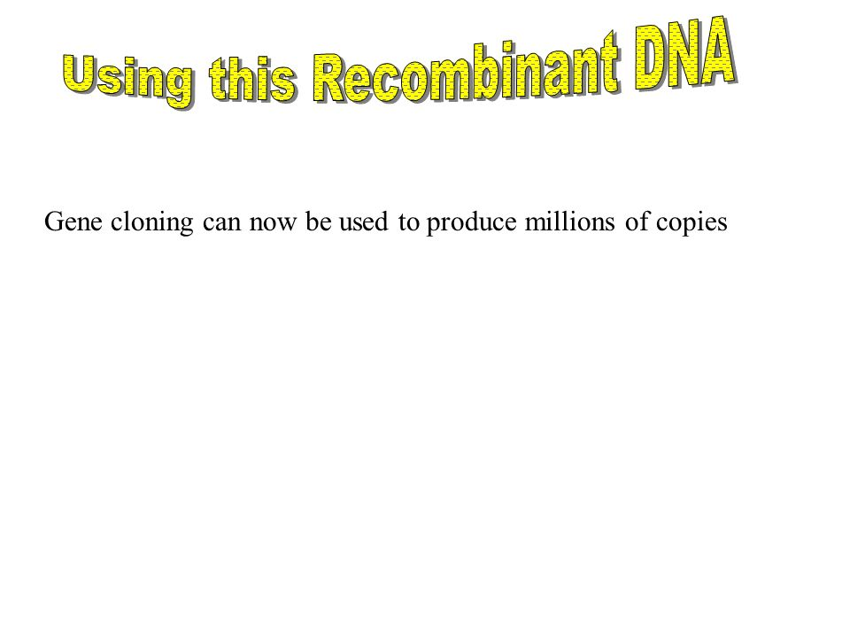 Using this Recombinant DNA
