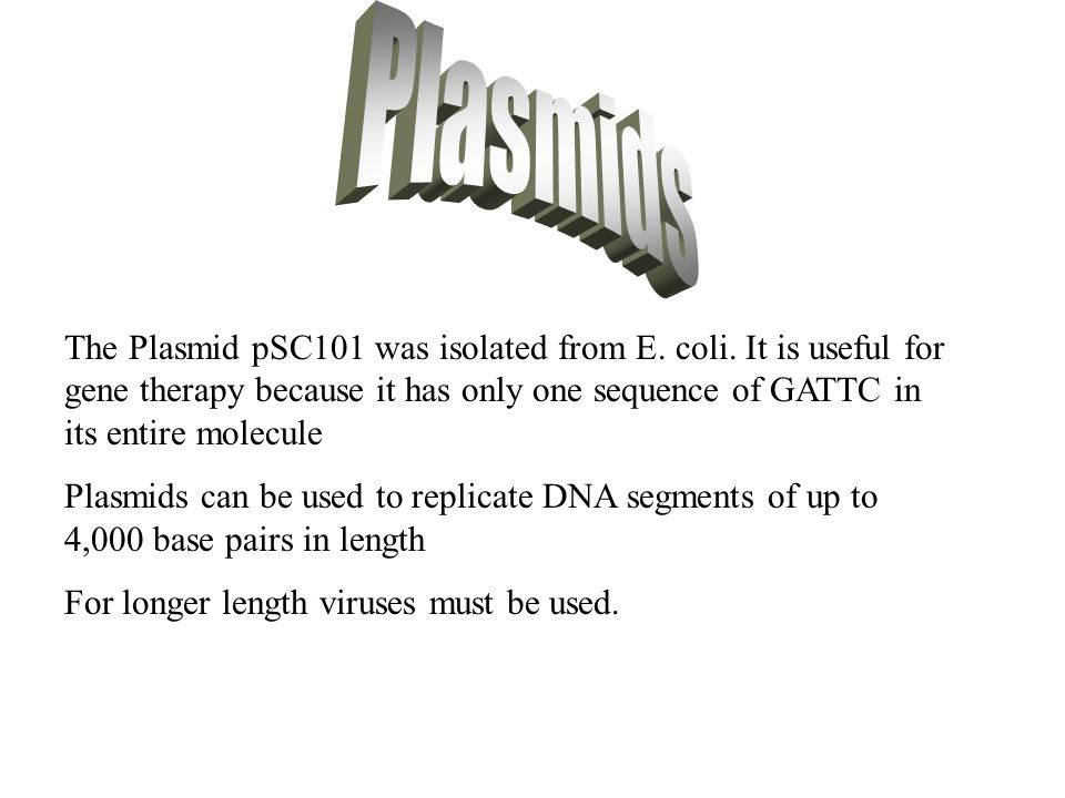 Plasmids The Plasmid pSC101 was isolated from E. coli. It is useful for gene therapy because it has only one sequence of GATTC in its entire molecule.