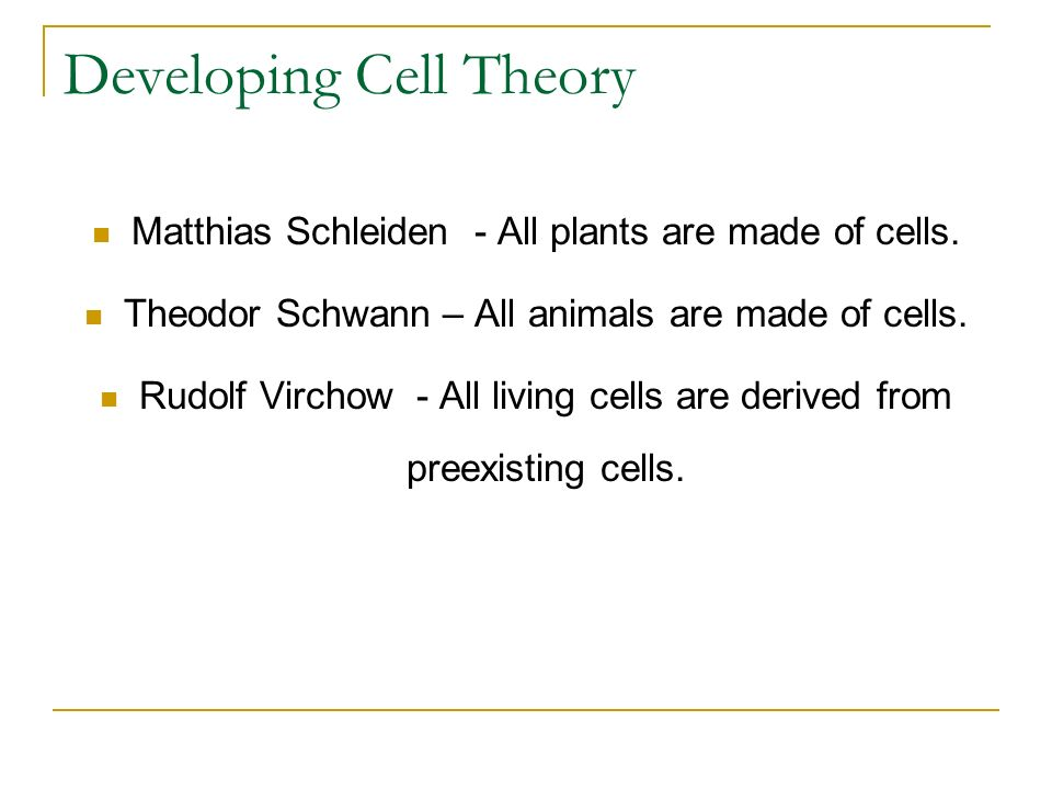 Developing Cell Theory