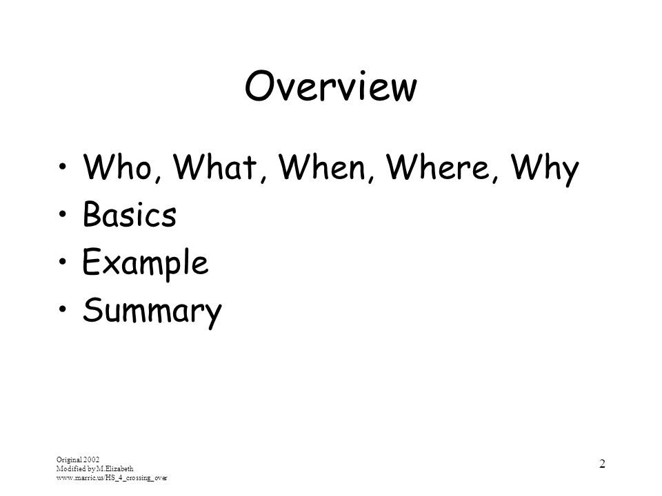 Overview Who, What, When, Where, Why Basics Example Summary