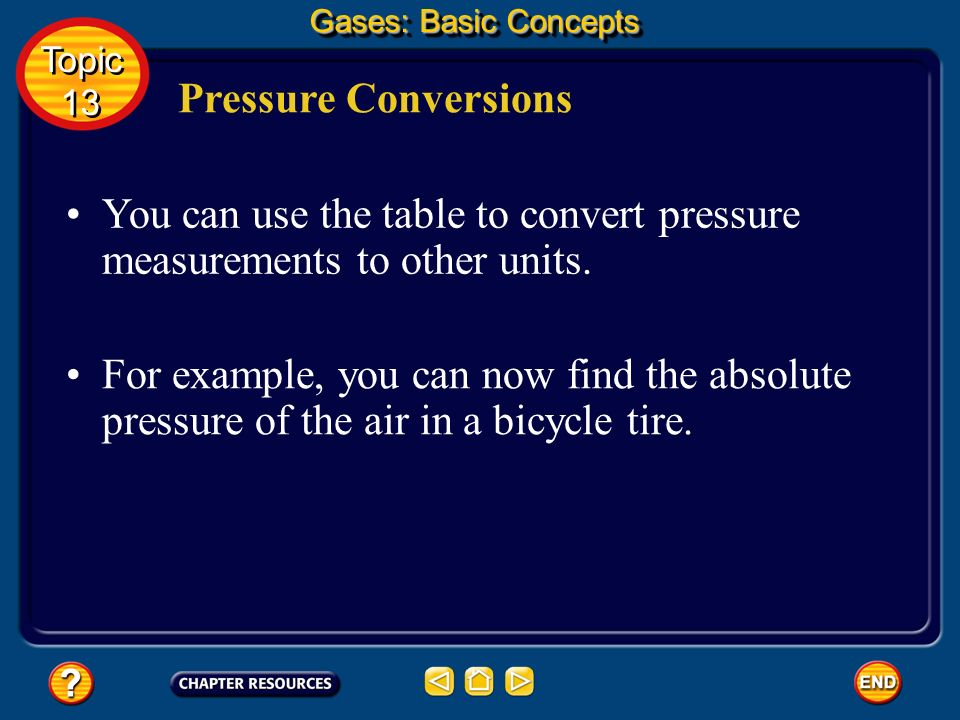 You can use the table to convert pressure measurements to other units.
