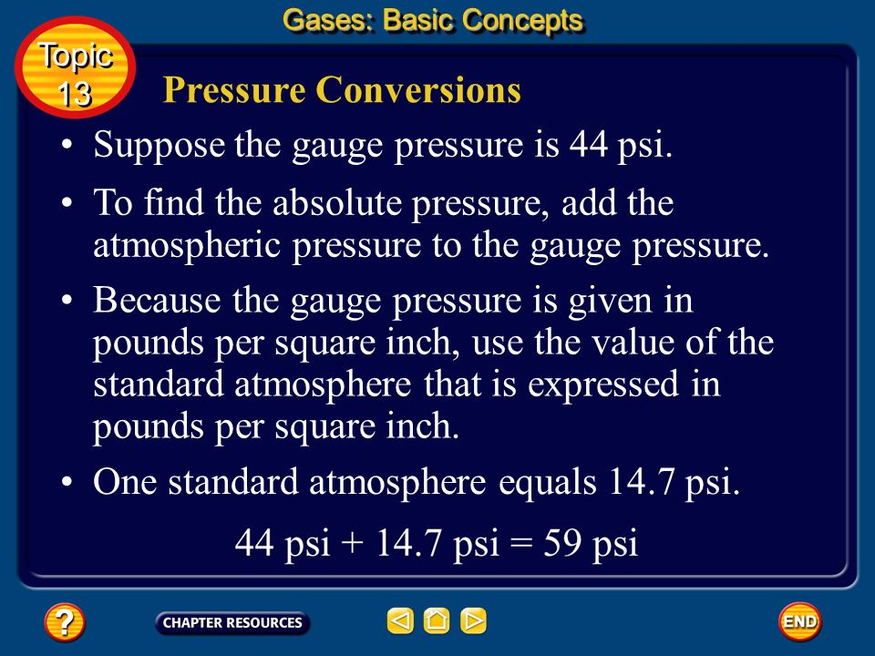 Suppose the gauge pressure is 44 psi.
