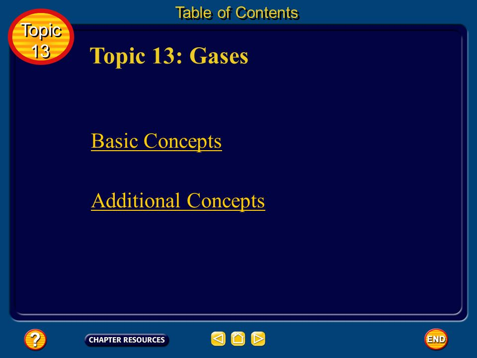 Topic 13: Gases Basic Concepts Additional Concepts Topic 13