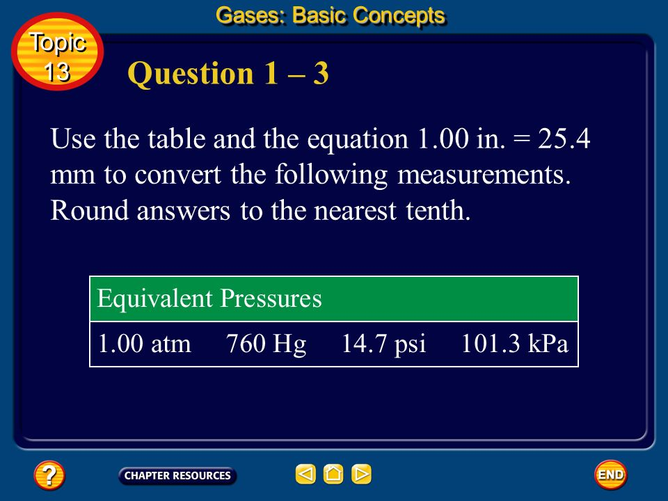 Gases: Basic Concepts Topic. 13. Question 1 – 3.