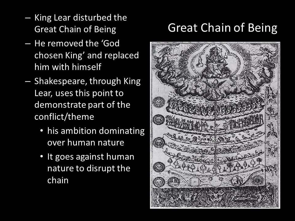 king lear and the great chain of being The divine order - the great chain of being in elizabethan times, there was a different way of looking at life people, including shakespeare believed in a divine order, or great.