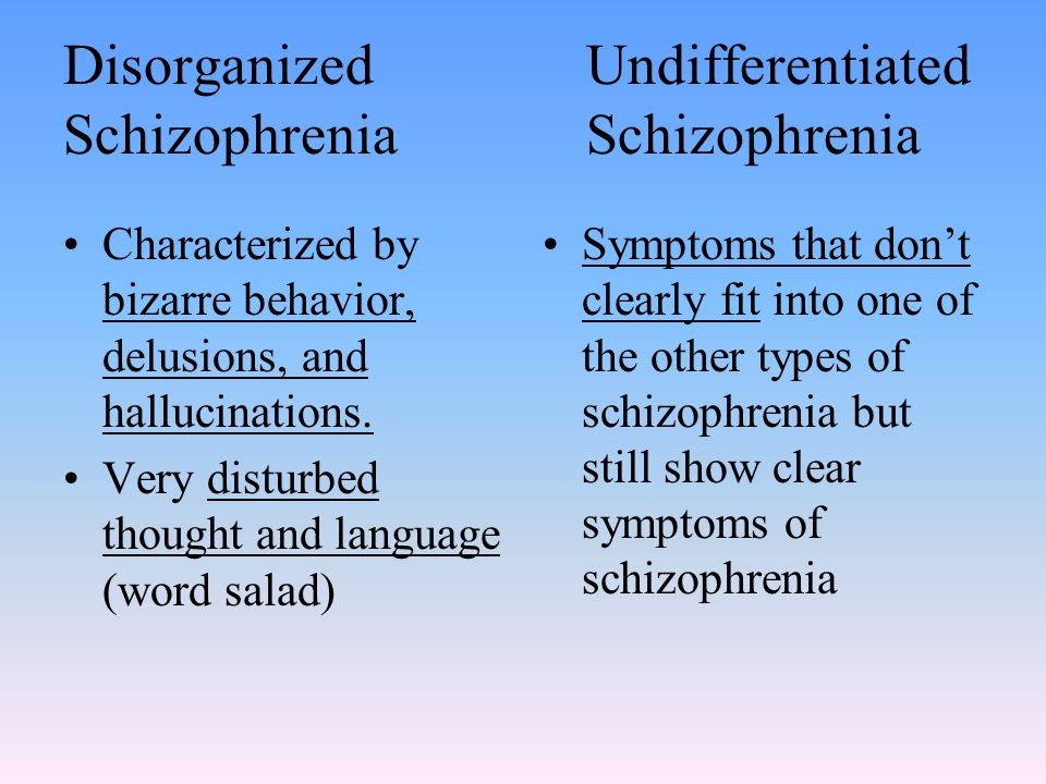 the symptoms and categories of schizophrenia Schizophrenia symptoms in teenagers are similar to those in adults, but the condition may be more difficult to recognize this may be in part because some of the early symptoms of.