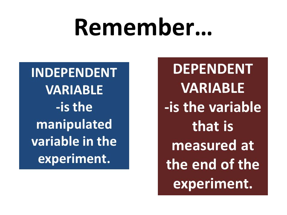 Remember… DEPENDENT VARIABLE