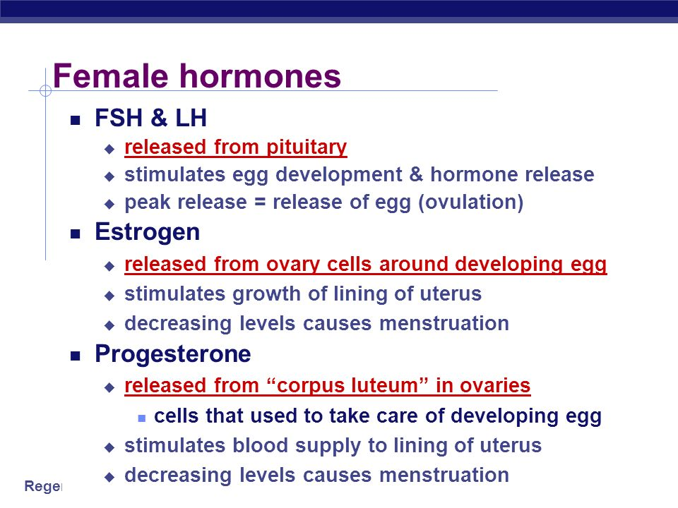 Female hormones FSH & LH Estrogen Progesterone released from pituitary