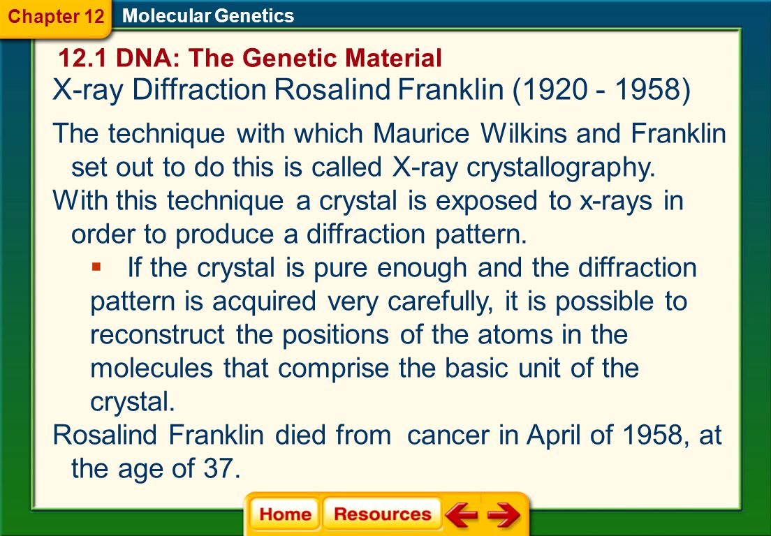 X-ray Diffraction Rosalind Franklin (1920 - 1958)