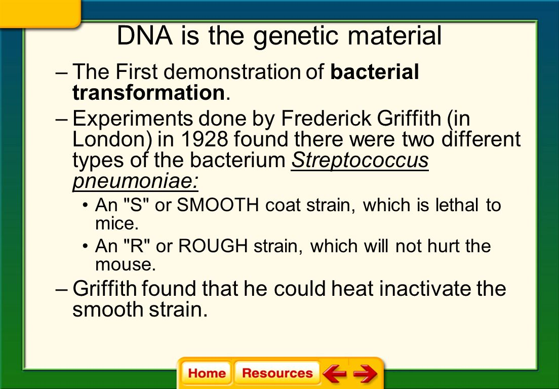 DNA is the genetic material