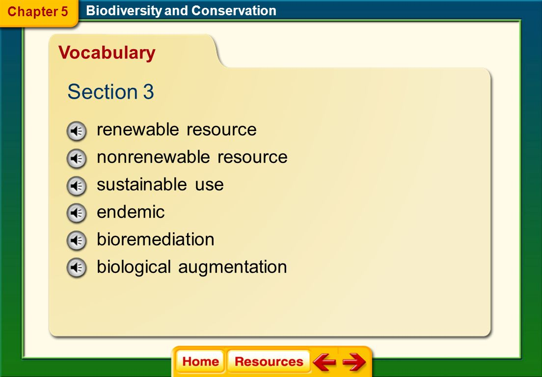 Section 3 Vocabulary renewable resource nonrenewable resource