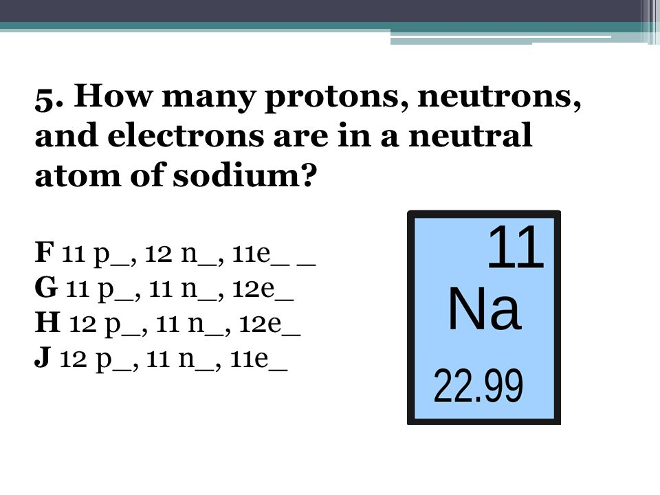 5. How many protons, neutrons, and electrons are in a neutral atom of sodium