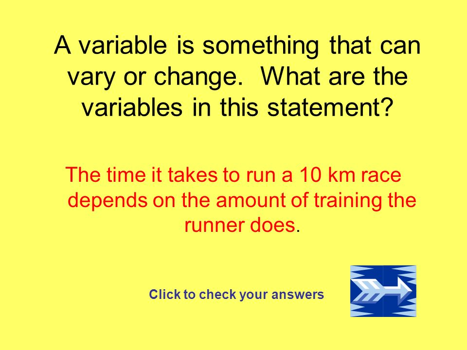 A variable is something that can vary or change