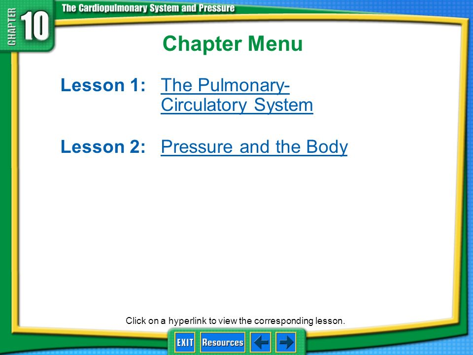 Chapter Menu Lesson 1: The Pulmonary- Circulatory System